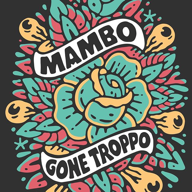 GONE TROPPO! 🤪🌴 Artwork for the legends at @mamboaustralia. A jungle of roses, eyeballs and tropical good-times. Fitting into their recent catalogue of apocalyptic-paradise. I grew up wearing the farting-dog and various loud-shirts and it feels amazing to be working with them now. Always a dream-job working with those scruffy-bois. - www.sindysinn.com.au #sindysinn #mamboaustralia #gonetroppo #roses #eyeballs #dontputyourdickinthat #yiew #gronk #kook #heavypetal