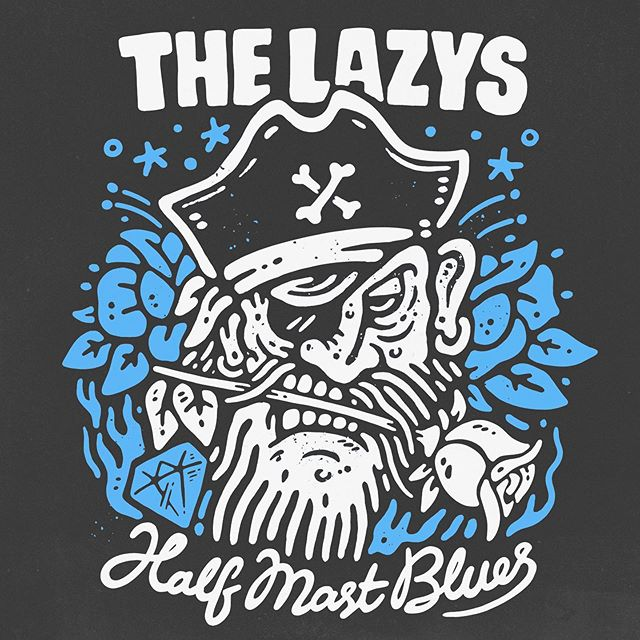 Shirt artwork for @thelazys, who just wrapped up a massive tour of Europe (including Wacken and Bloodstock) and are gearing up for the HALF MAST BLUES Canadian tour. The album is sick, canuck-pals go catch them at a show. - www.sindysinn.com.au #sindysinn #thelazys #halfmastblues #yarr #waketheskipper #firetheguns #shivermetimbers #theboysintrouble #ehbud