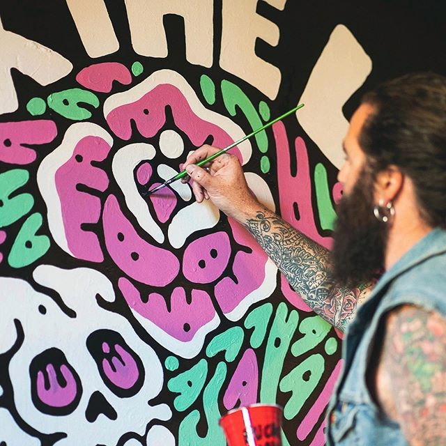 Later this week @jameson_au launches the new shirt collaboration with @thelansdowne ... matching up with the rad new mural I painted there earlier this month. One of the best spots in Sydney for a band, a beer and a whisk. - www.sindysinn.com.au #sindysinn #jamesonwhiskey #thelansdowne Photo by @yeahradcreative.