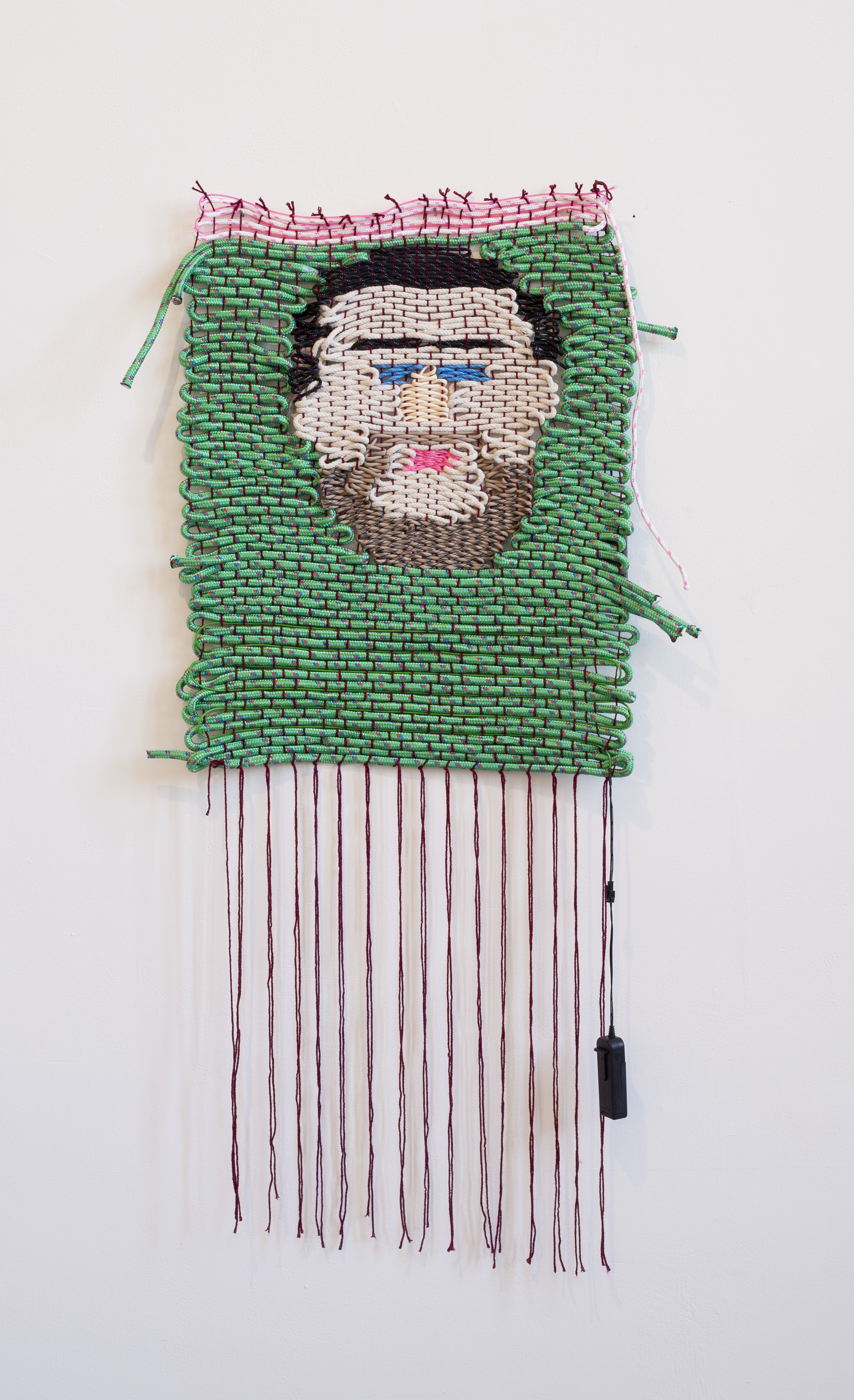 how many fucks you had?, 2015 Wool, polypropene rope, paracord, cotton sash cord, and electroluminescent wire. 130 x 50cm  Photo by Nathan Brooker