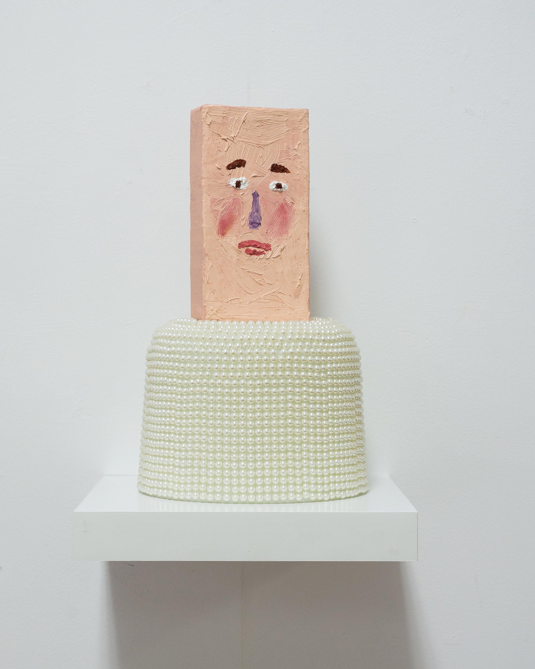 Connor  Glass, plastic pearls, oil on paper mache
