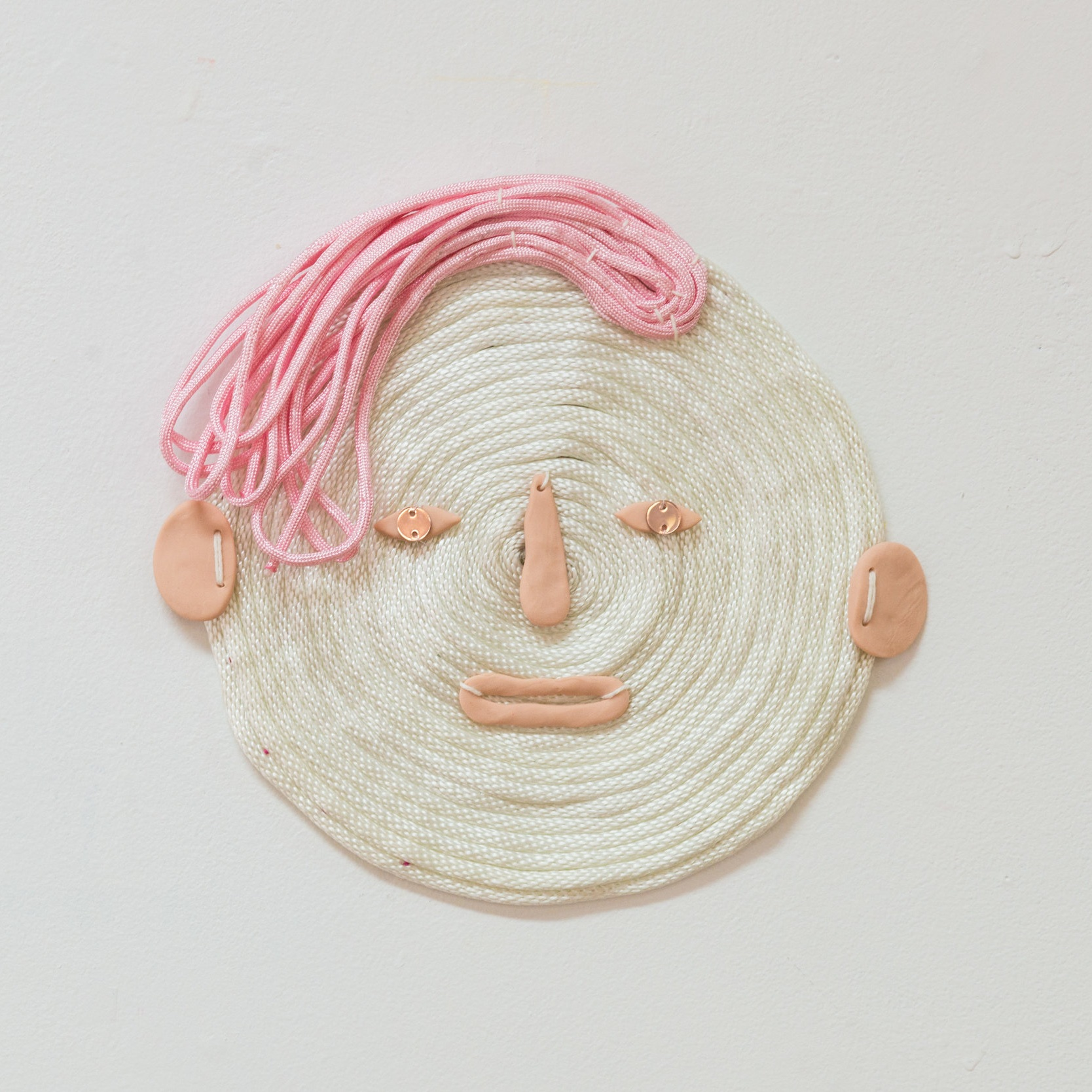 Aaron (haunted by) , 2019 Bondage rope, paracord, polymer clay and laser cut acrylic.
