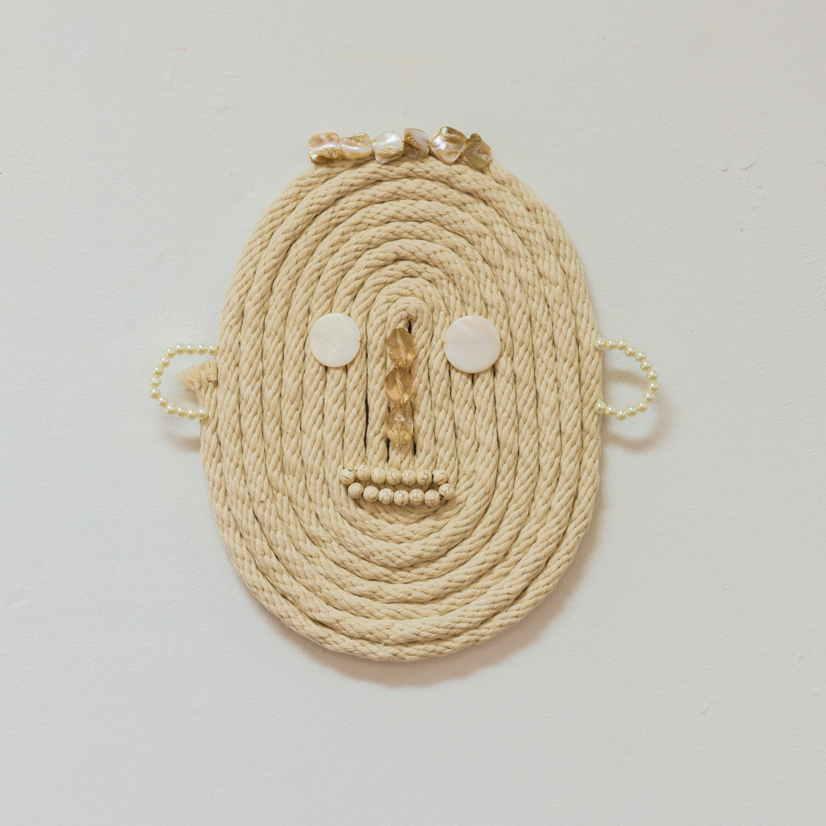 Josh (haunted by) , 2019 Cotton sash cord, shell and acrylic beads