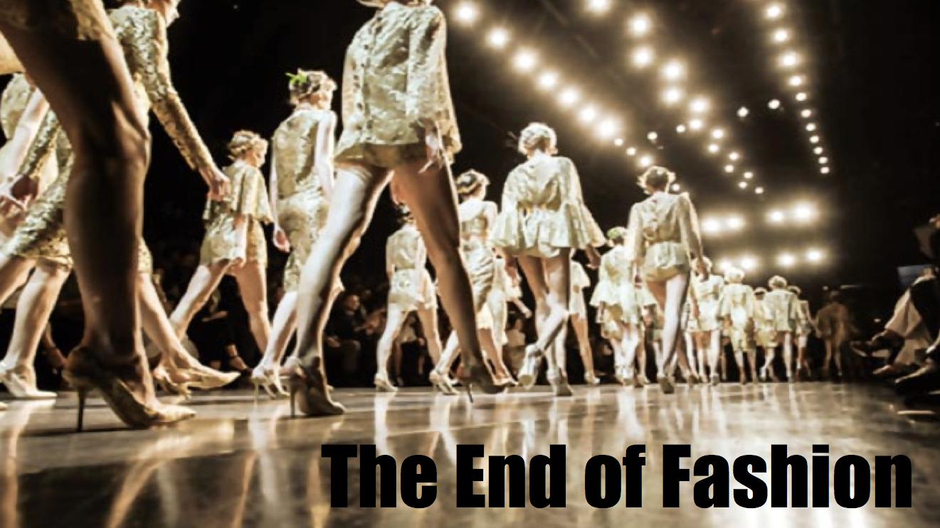Заглавная страница лекции The End of Fashion, которая была прочитана 15 июля 2015 года в Высшей Школе Экономики.