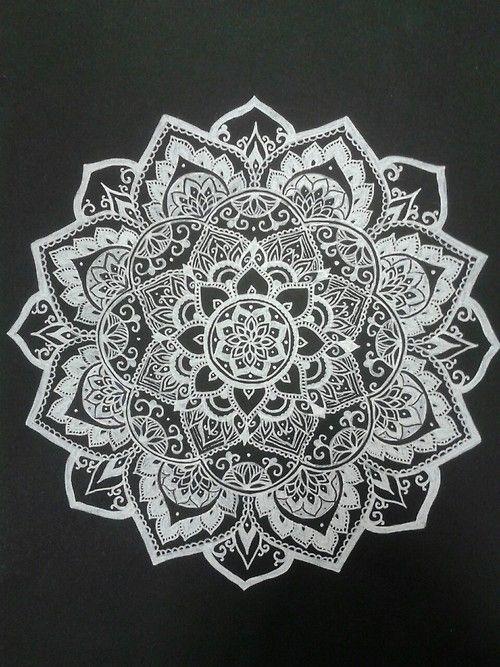 white on black mandala