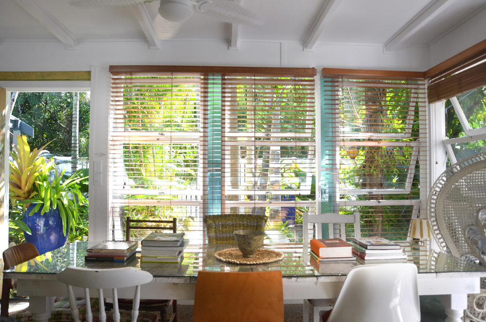 The dining rooms looks out to the nature reserve across the street