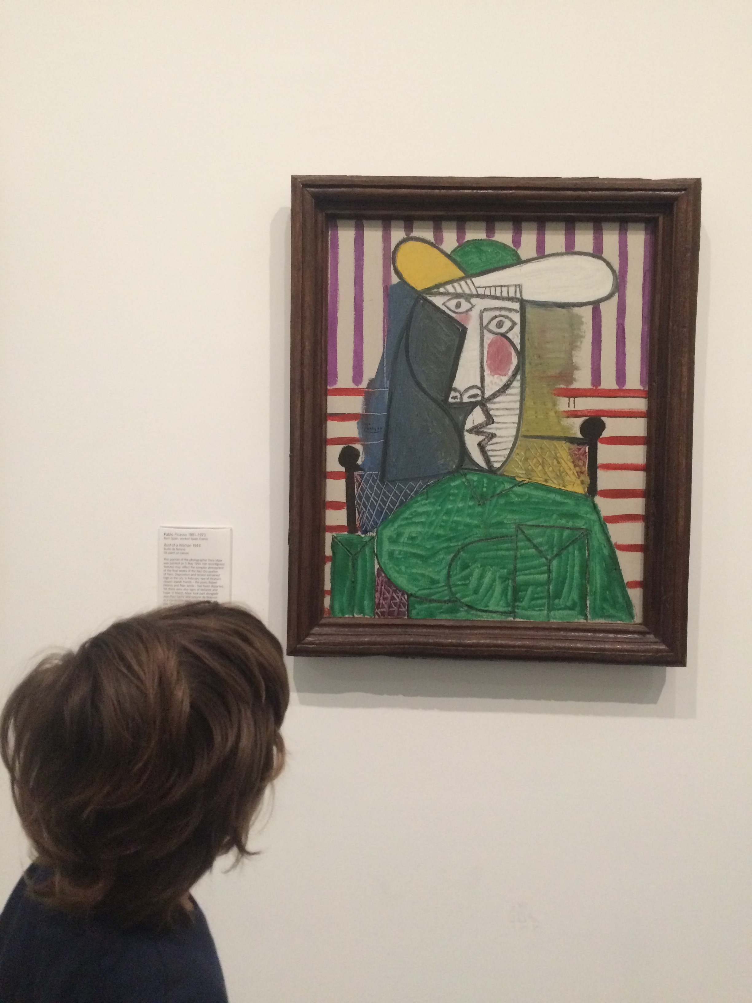 This is one of Pablo Picasso's paintings. I can't believe I could see one of his paintings! This was real, not a copy.  This is a portrait. This is more of an abstract face.  I don't really like the painting because he used his imagination too much. It looks funny.