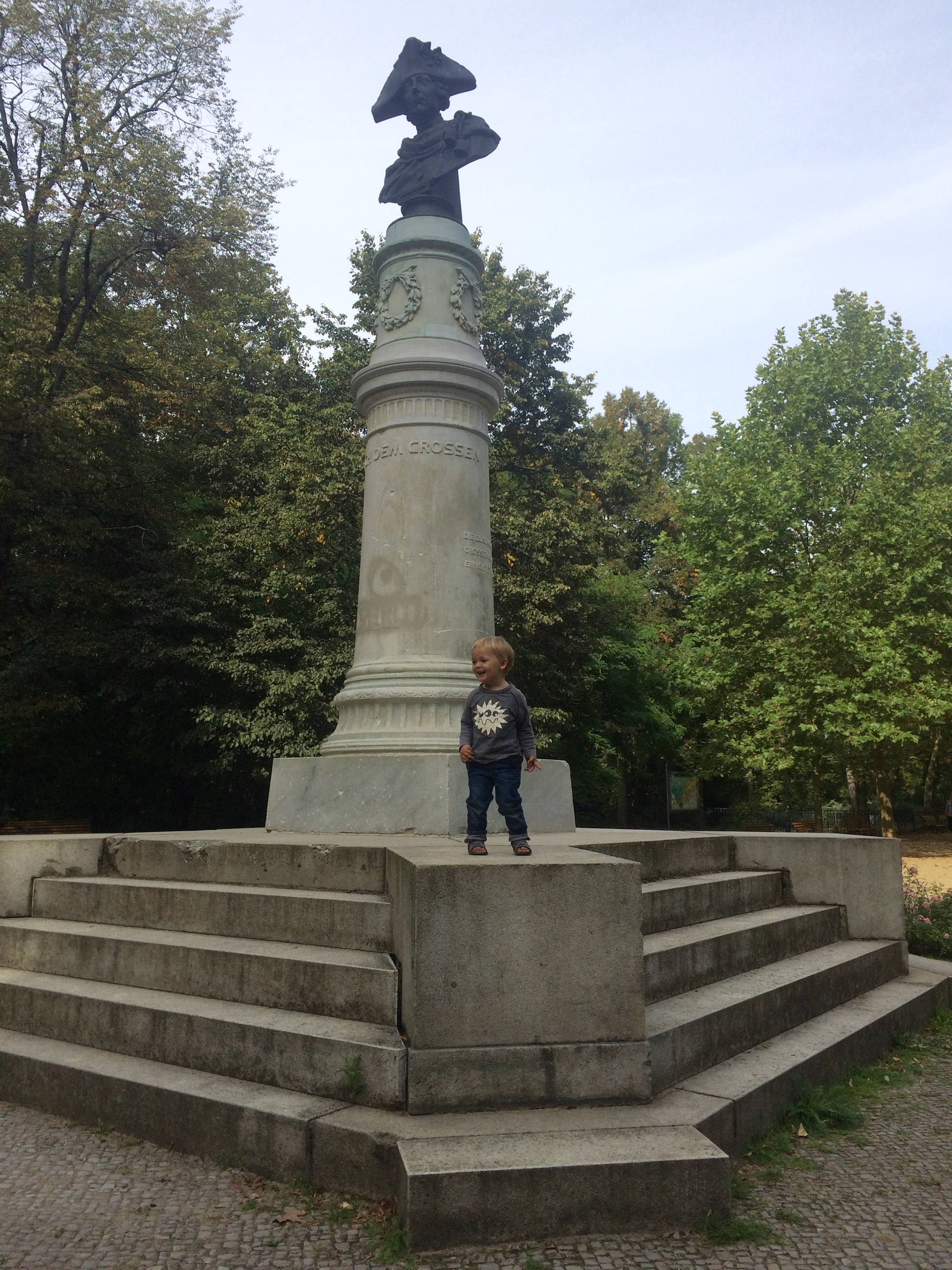 we found this statue and hugo thought it was a stage and hugo kept screaming halleluja i don't know why?