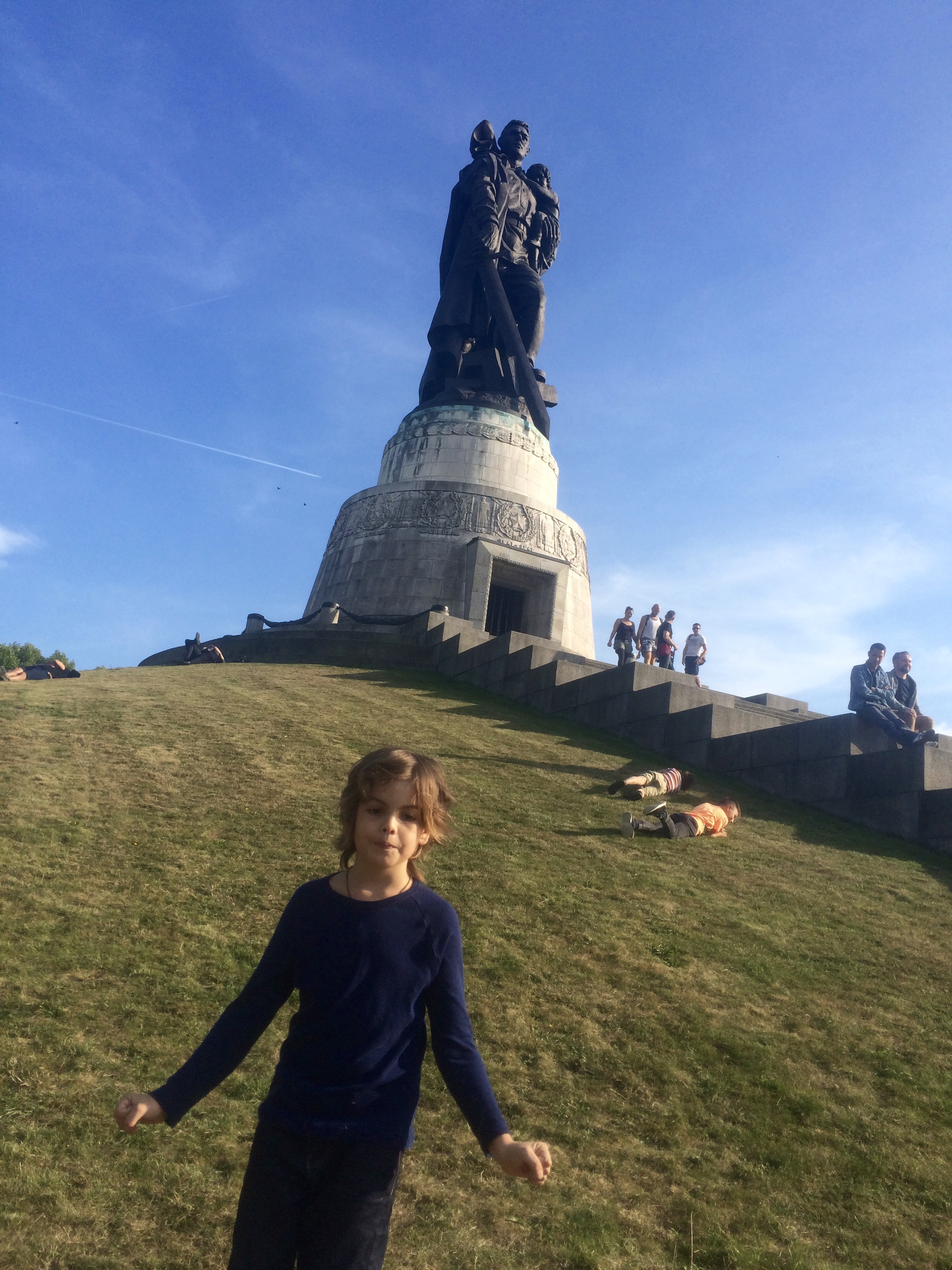 This is the soviet war memorial, this is dedicated to all the russians that died fighting berlin in the second world war. I started to roll down the hill, but it was spikey, so I had to get it out of my shirt.