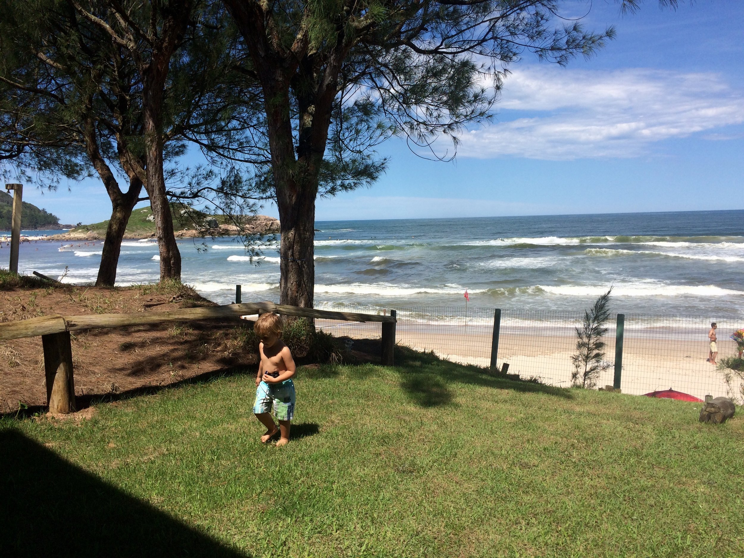 when we went to brazil we had a very nice next door neighbour called Gabrelle i go to her place and she some times go to my place. We have a little apartment on the beach. We go to the beach everyday. The beach is beautiful because it has epic waves and the water is perfect. The beach doesn't get that busy.