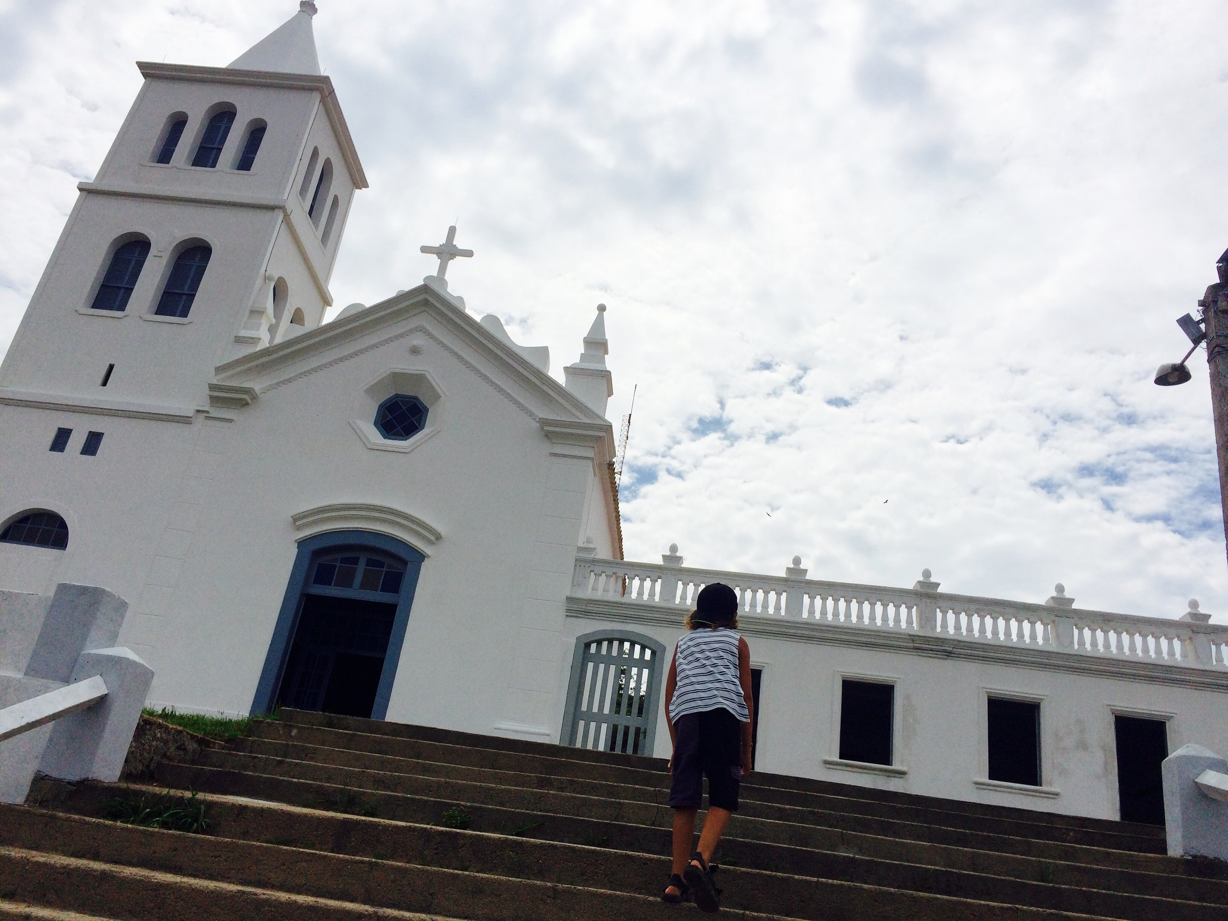 we took a drive to the town and the beach was real crowded so we went to the church it was really beautiful .