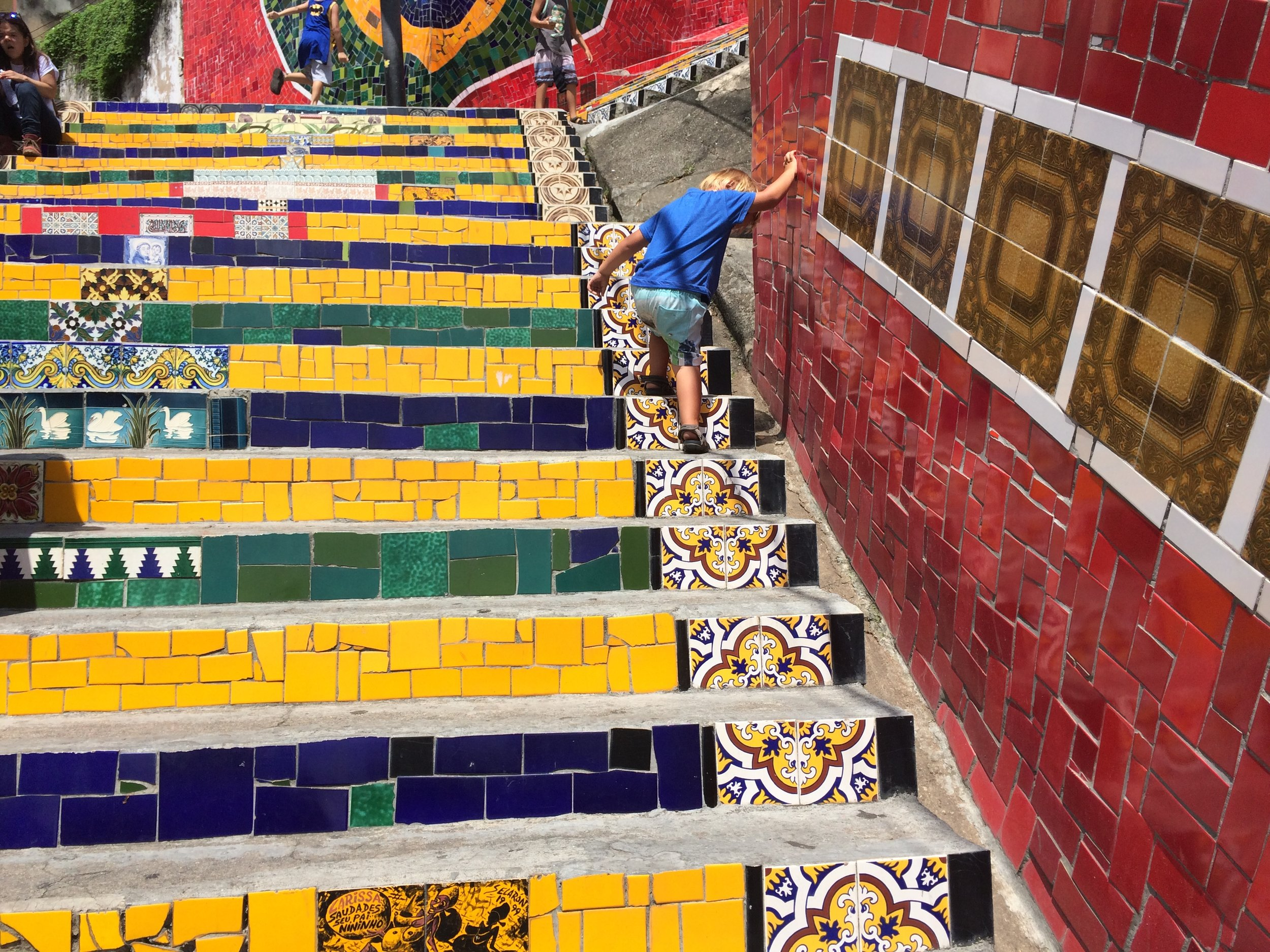 hugo was geting faster at walking up the stairs witch is cool because hugo always i a slow coach and the tiles were beautiful it even had the Simsons.