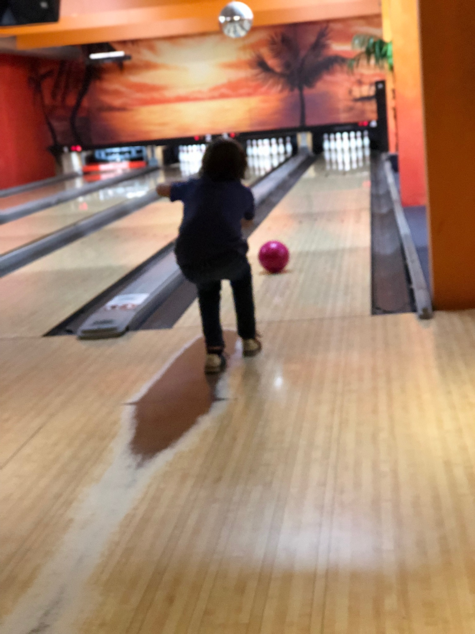 So what I did for mmyyyy birthday wasss sort of good but we did bowling 🎳.and, now,I know that I'm not good at bowling at all😨😥 .i wish I was good at bowling. the ball is way to heavy for me .