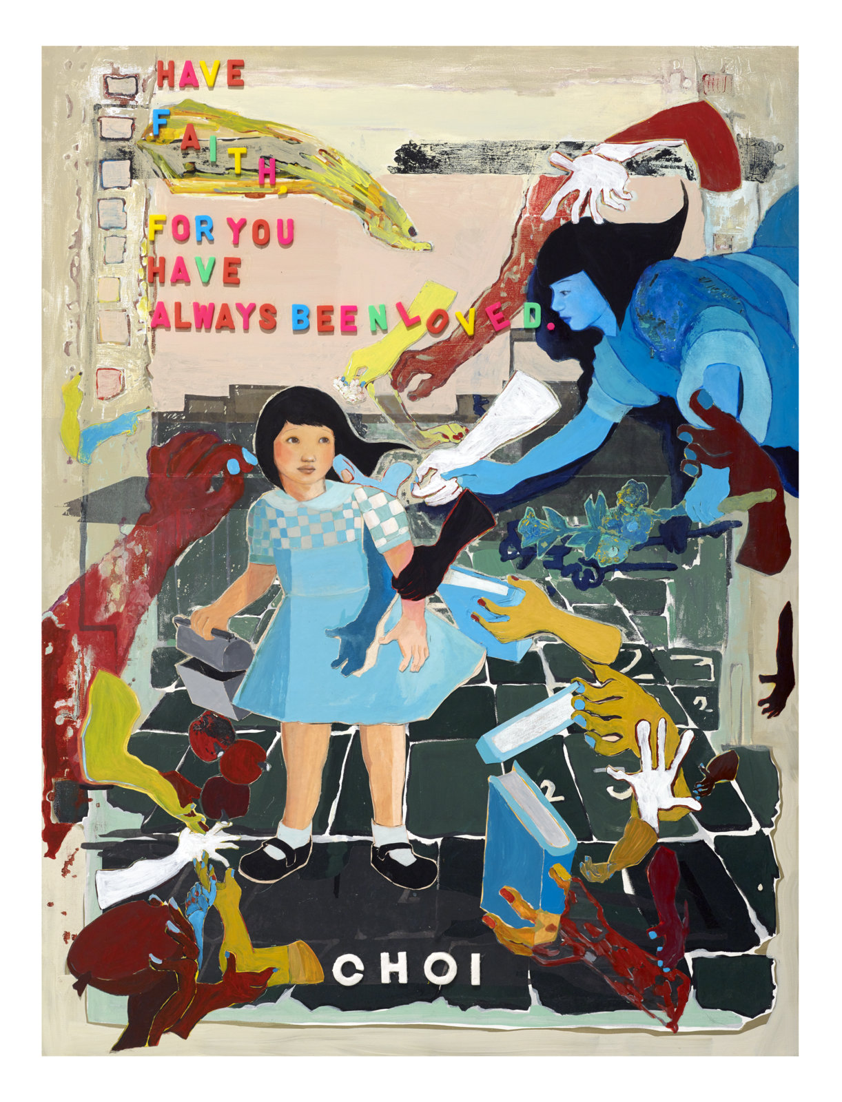 """Have Faith For You Have Always Been Loved, 2014 Paper collage, acetate, acrylic, plastic letters and clay 48"""" X 36"""""""