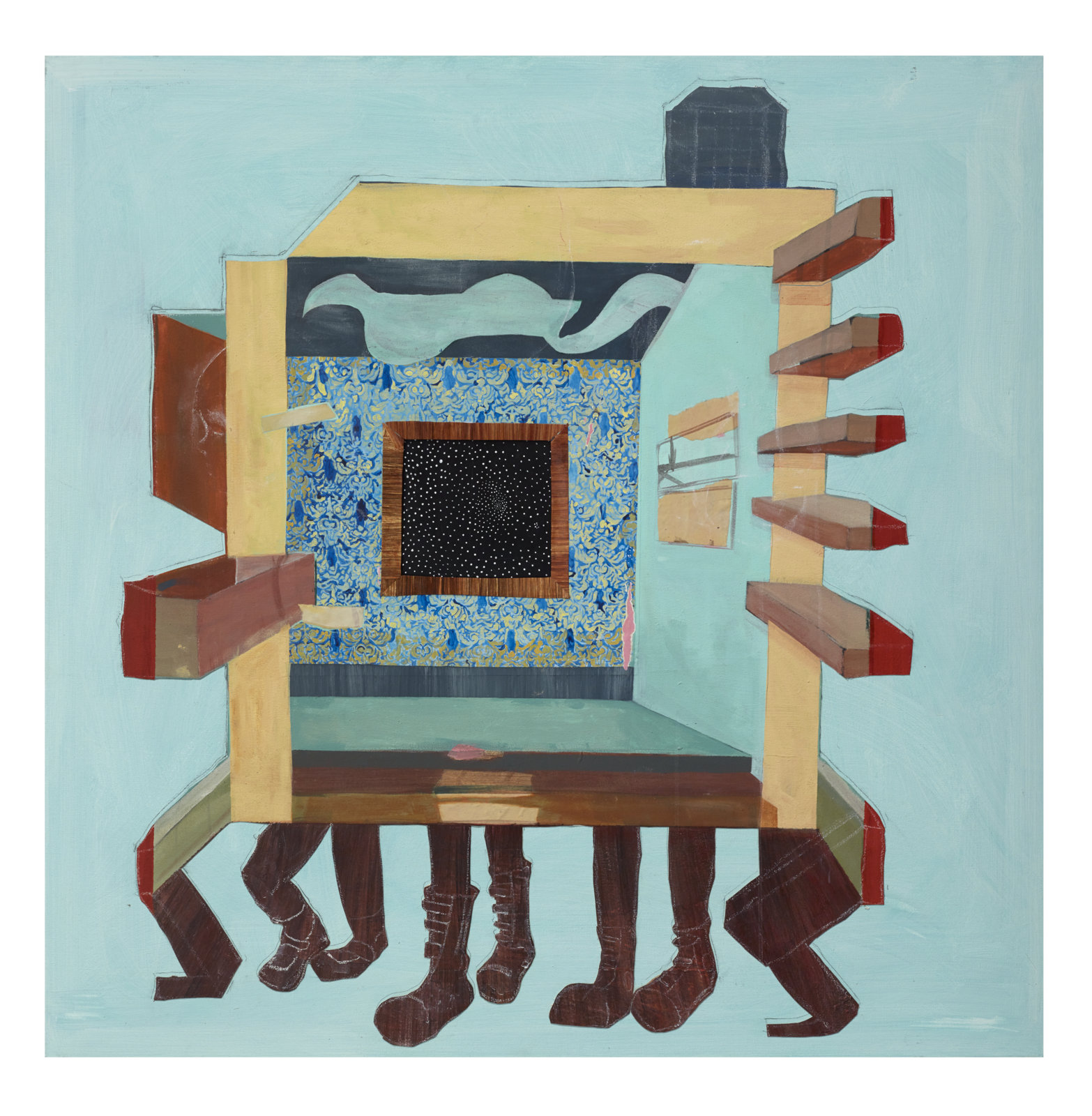 """Furnished With Hope: We Shall Bring You To A Better Place, 2014 Acrylic, paper, newsprint, chalk pastel and canvas 48"""" X 48"""""""