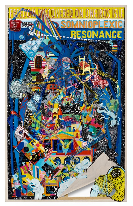 Somnioplexic Resonance, 2016. Acrylic paint, painted canvas and paper on stretched canvas,  60 x 84 inches.