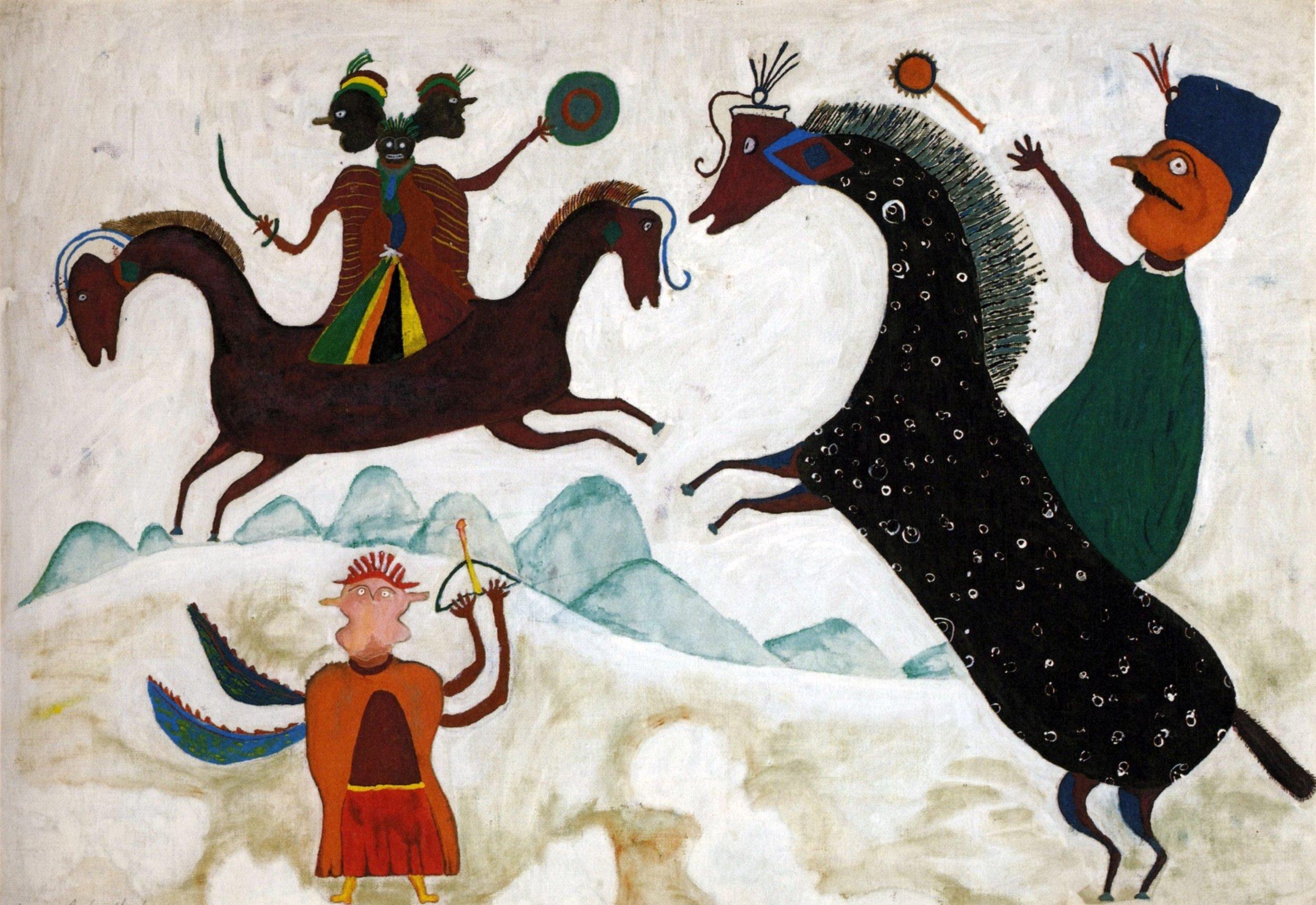 Ilija Bosilj Bašičević Prince Marko and the Three-Headed Arab, 1959 Oil on canvas.jpg