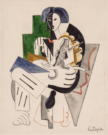 Louis Robert Arthur Latapie (French, 1891-1972) Woman with cat Watercolor and ink on paper