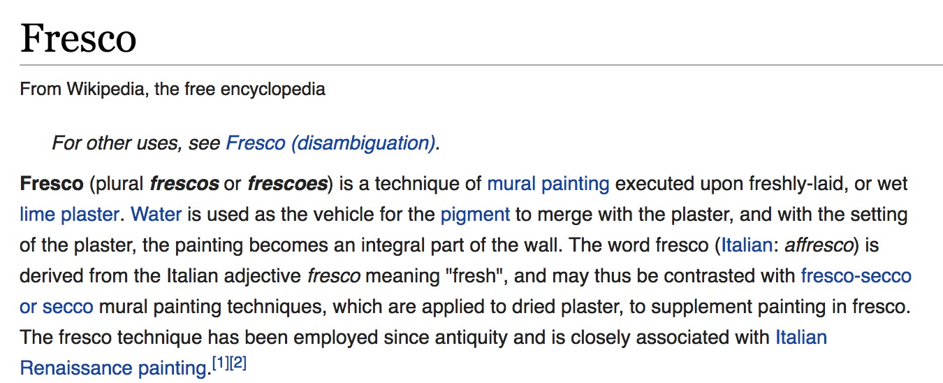 "The definition of ""Fresco"" from wikipedia."