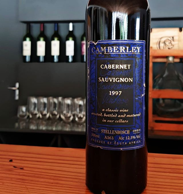 """A Classic Wine Created, Bottled and Matured In Our Cellar"". Our first vintage was in 1996 in the form of a Cab/Sav which was only available in 500ml bottles. This '97 bottle is one of the last ones left. . . . #camberlwines #camberley #winefarm #wine #cabernetsauvignon #red #vintage #retro"