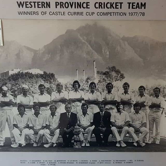 Besides being a winemaker, John was a pretty handy opening batsman who played for Western Province. See if you can spot him in this legendary team that won the Currie Cup in 1977/78. . . . #camberlwines #camberley #winefarm #wine #westernprovince #cricket #retro #curriecup
