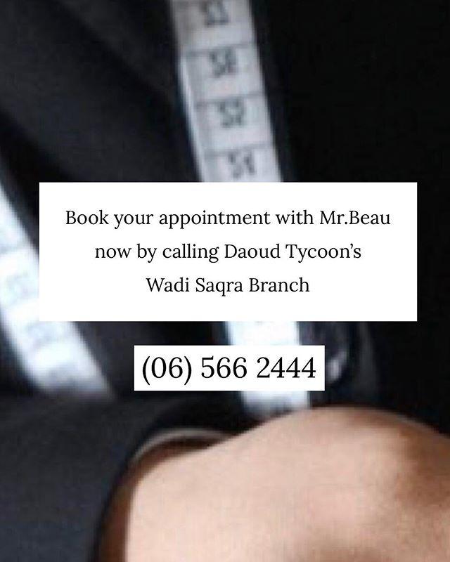 """Your Personal Suit"" line at Daoud Tycoon's offers you a professional experience as we design a suit that is tailored to your body & personality as Well.  Have the chance to meet our international tailor Mr.Beau Van Gils in our main branch at Wadi Saqra on the 16th & 17th of April. Start booking your appointments now on (06) 566 2444  لأن ثقتك تكمن في أناقتك، نحن في ""داود تايكونز"" نقدم لك تجربة تصميم بدلتك الخاصة. اكتشف تشكيلتنا المميزة من أحدث الأقمشة و الأزرار التي تناسب شخصيتك.  اغتنم فرصة لقاء المصمم العالمي لدينا في ١٦ و ١٧ أبريل في المعرض الرئيسي-وادي صقرة. احجز جلستك الآن! (06) 566 2444"