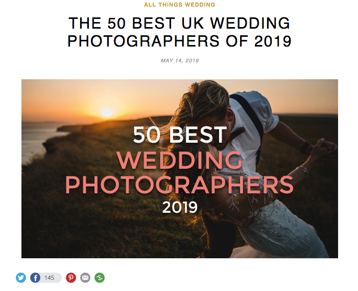 The 50 Best UK Wedding Photographers - I'm over the moon to have been named one of the 'Top 50 UK Wedding Photographers' for the second year running by GoHen.