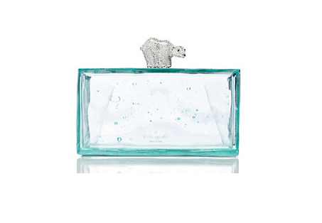 Kate Spade Caution to the Wind Polar Bear on Ice Clutch $318.00   Color:  Ice Blue  Tone:  Cool