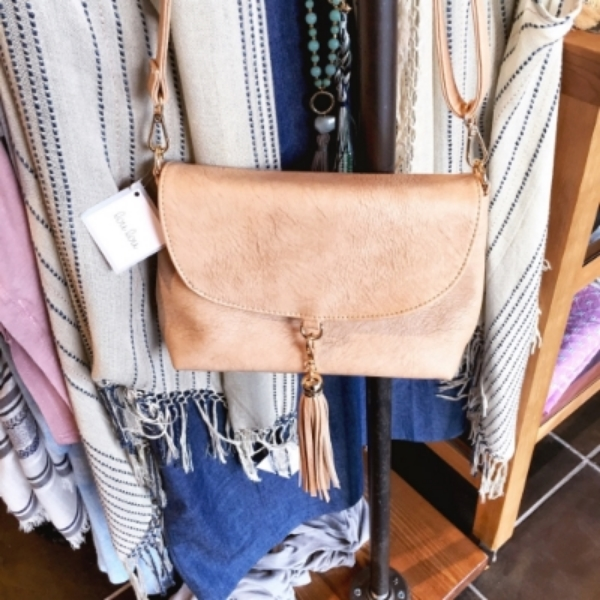 Lou Lou Neutral Tassel Crossbody Bag $28.00    Color:  Beige/ Iced Coffee  Tone:  Warm