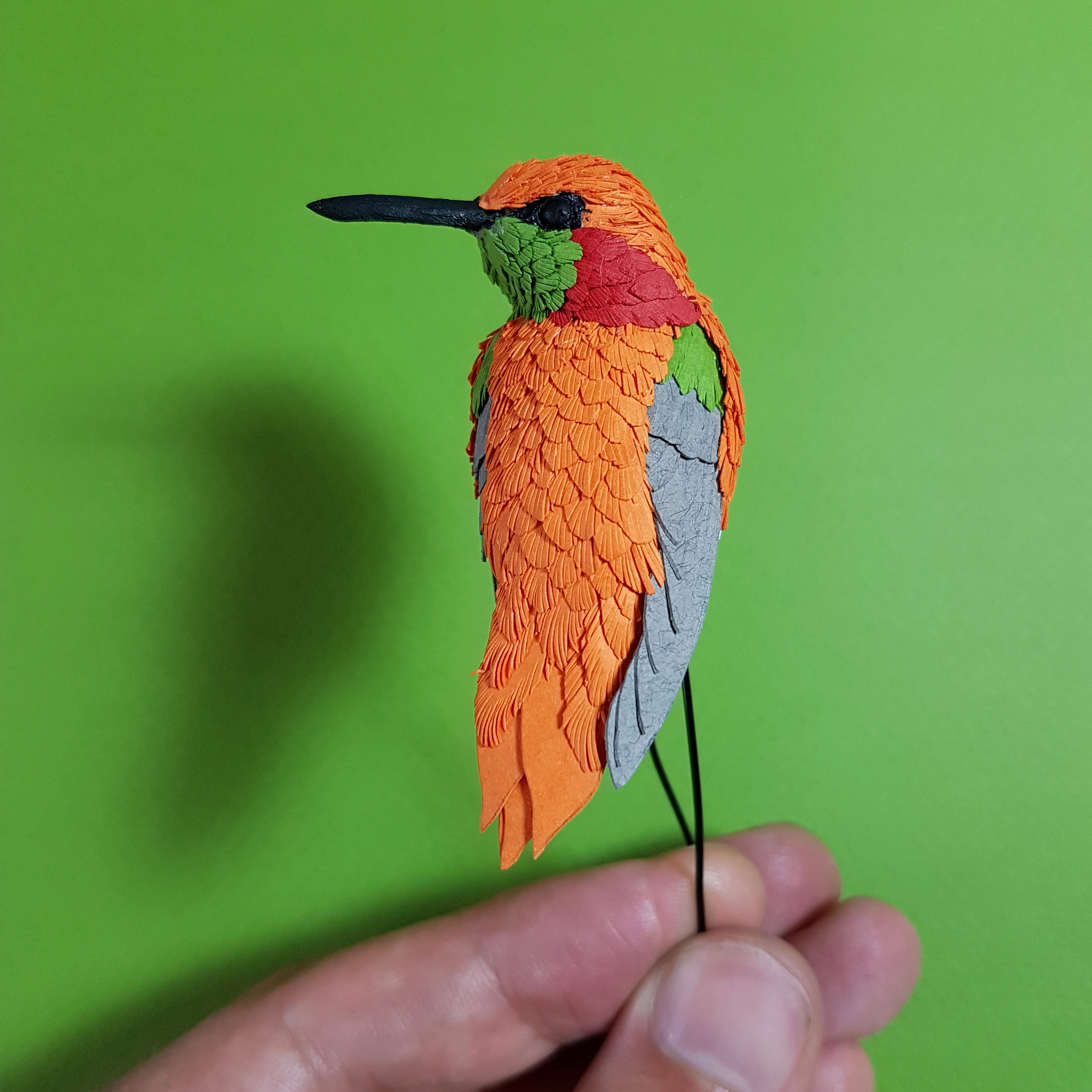 Lovely bright orange paper for this little Rufous Hummingbird sculpture.