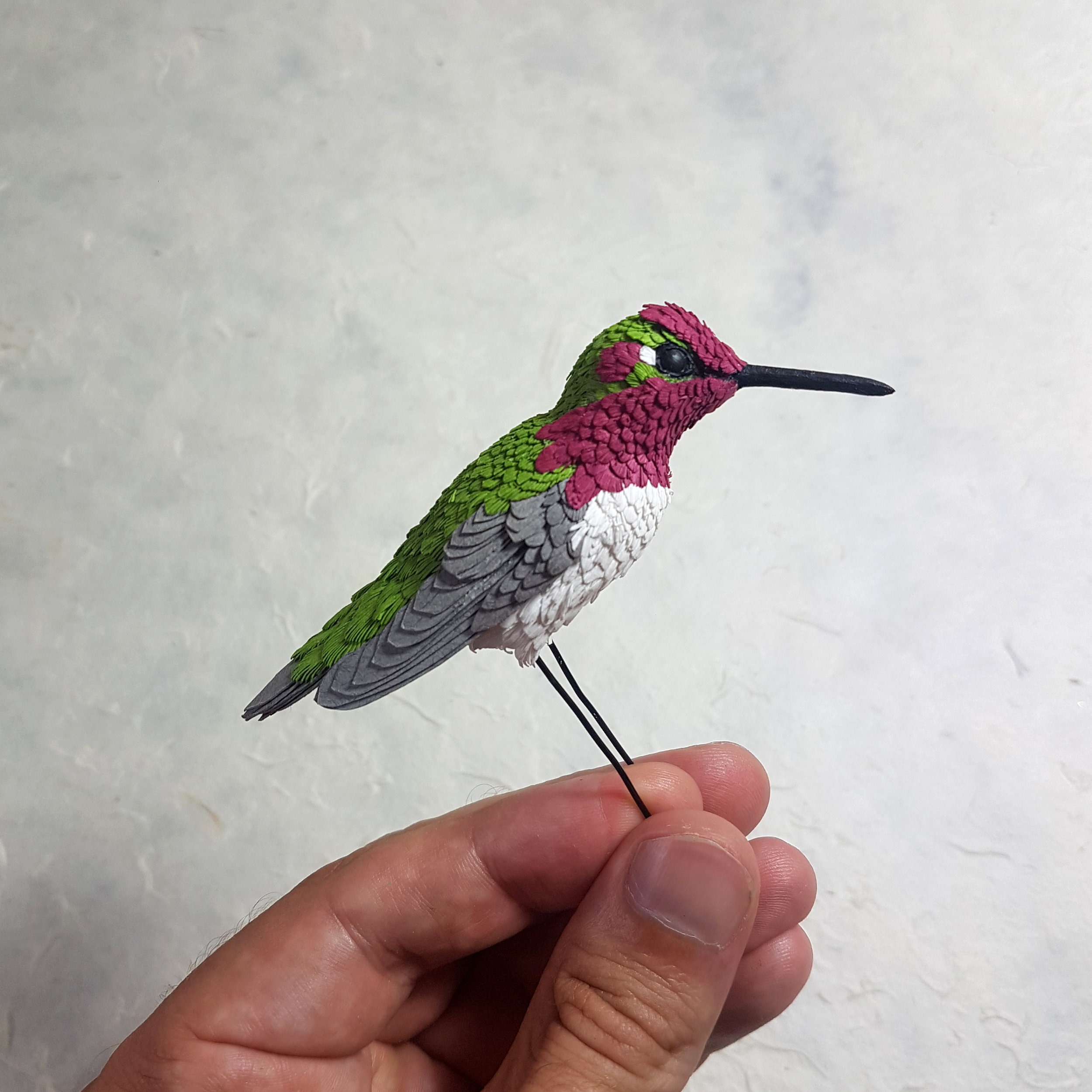 The stunning Anna's hummingbird here, can't wait to add all the iridescent paints to this one.