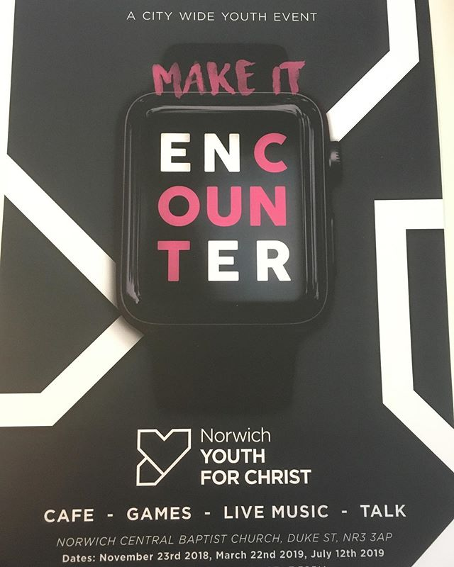 On Friday 12th July, One Youth will be going to 'Encounter' with @norwichyfc Free admission on arrival. There will be a cafe, games, live music and an inspirational talk. Doors open 7pm at Norwich Central Baptist Church, Duke St., Norwich, NR3 3AP. Going to be a great night !@onenorwichelim #oneyouthnorwich #oneyouthnorwichfridaynights #norwich #youth #yfc #summer #worship #friends #encounter #God #holyspirit #jesus #music