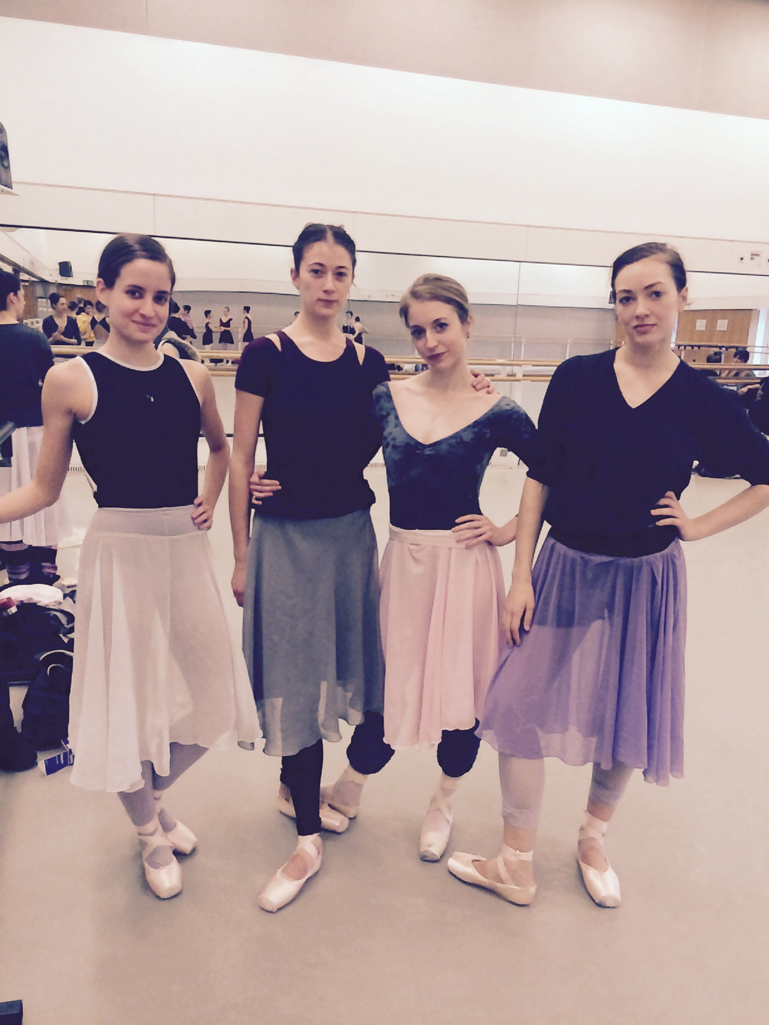 LETTIE, HANNAH, MEG AND TIERNEY IN MUTED DUSTY COLOURS.