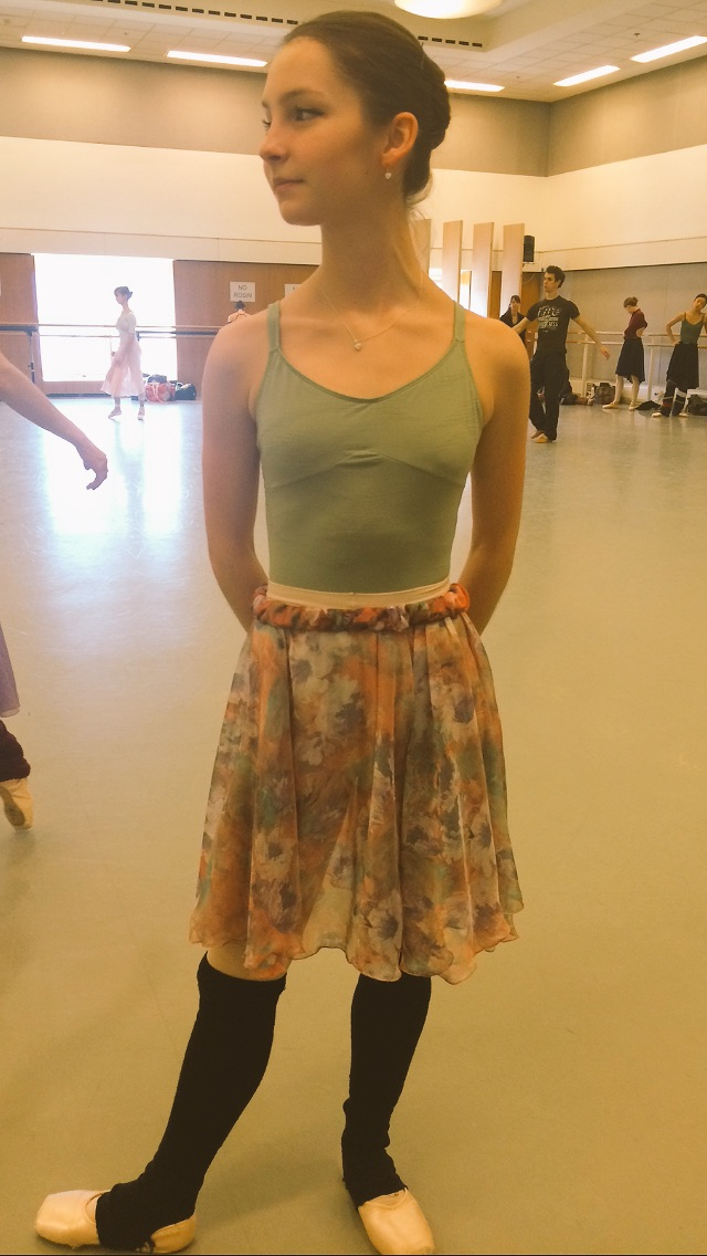 ASHLEY IN ANOTHER MONET INSPIRED SKIRT, CUT IN AT THE KNEES.