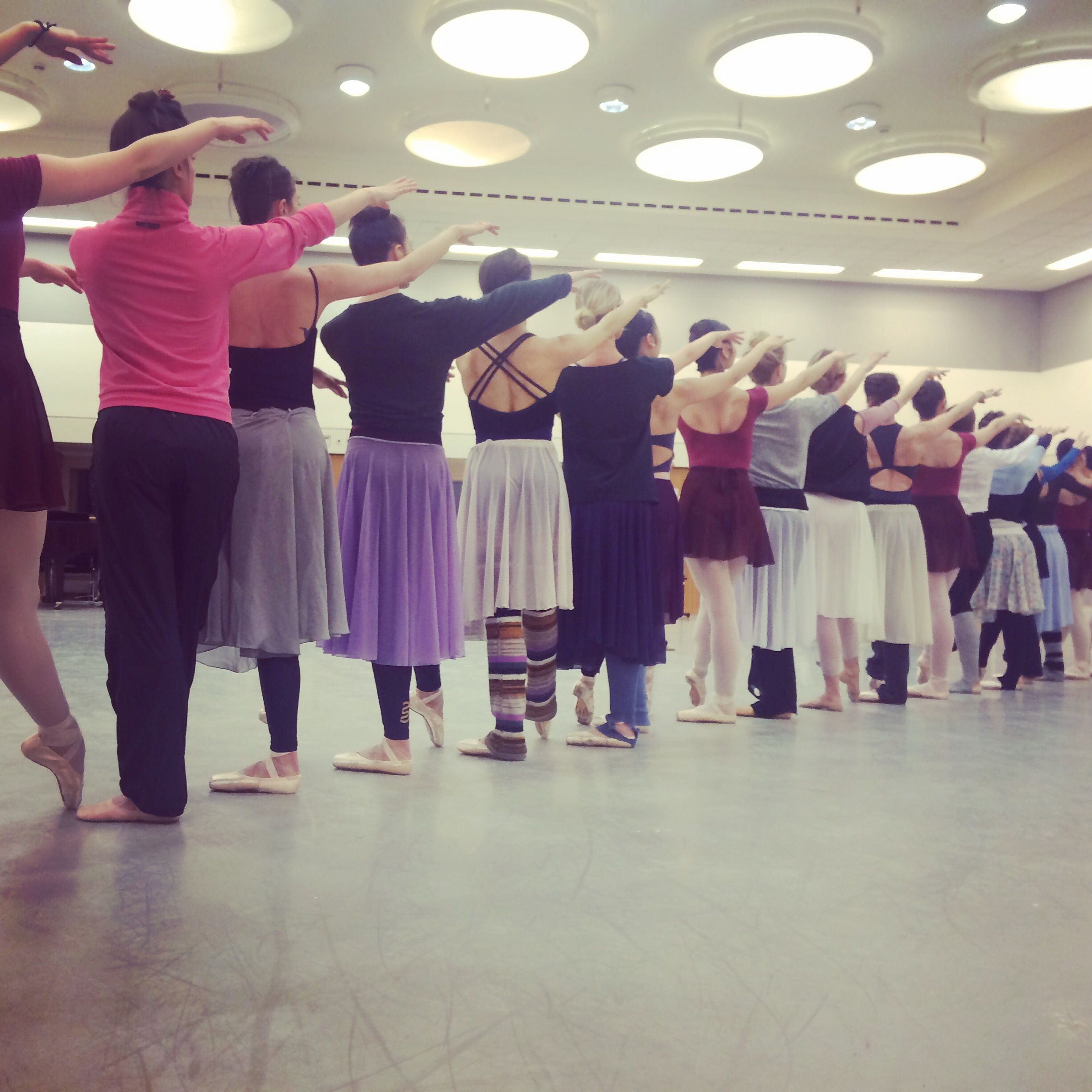 LADIES ROCKING THEIR SKIRTS IN A REHERSAL OF ACT 2 'GISELLE'.