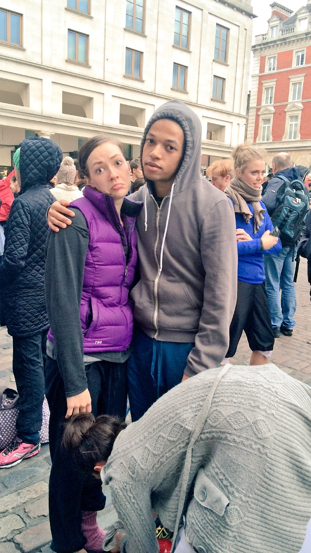 TIERNEY AND SOLOMON IN STYLISH BODY WARMERS AND HOODIE.