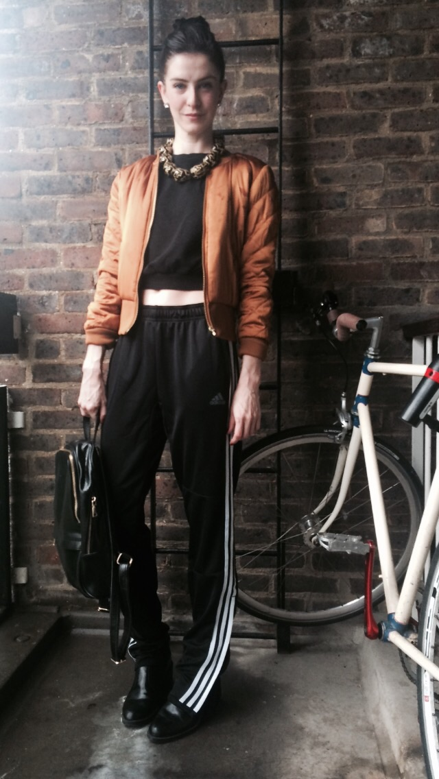 Me  Jumper  http://m.asos.com   Trousers  http://m.adidas.co.uk/   Jacket  http://www.hm.com