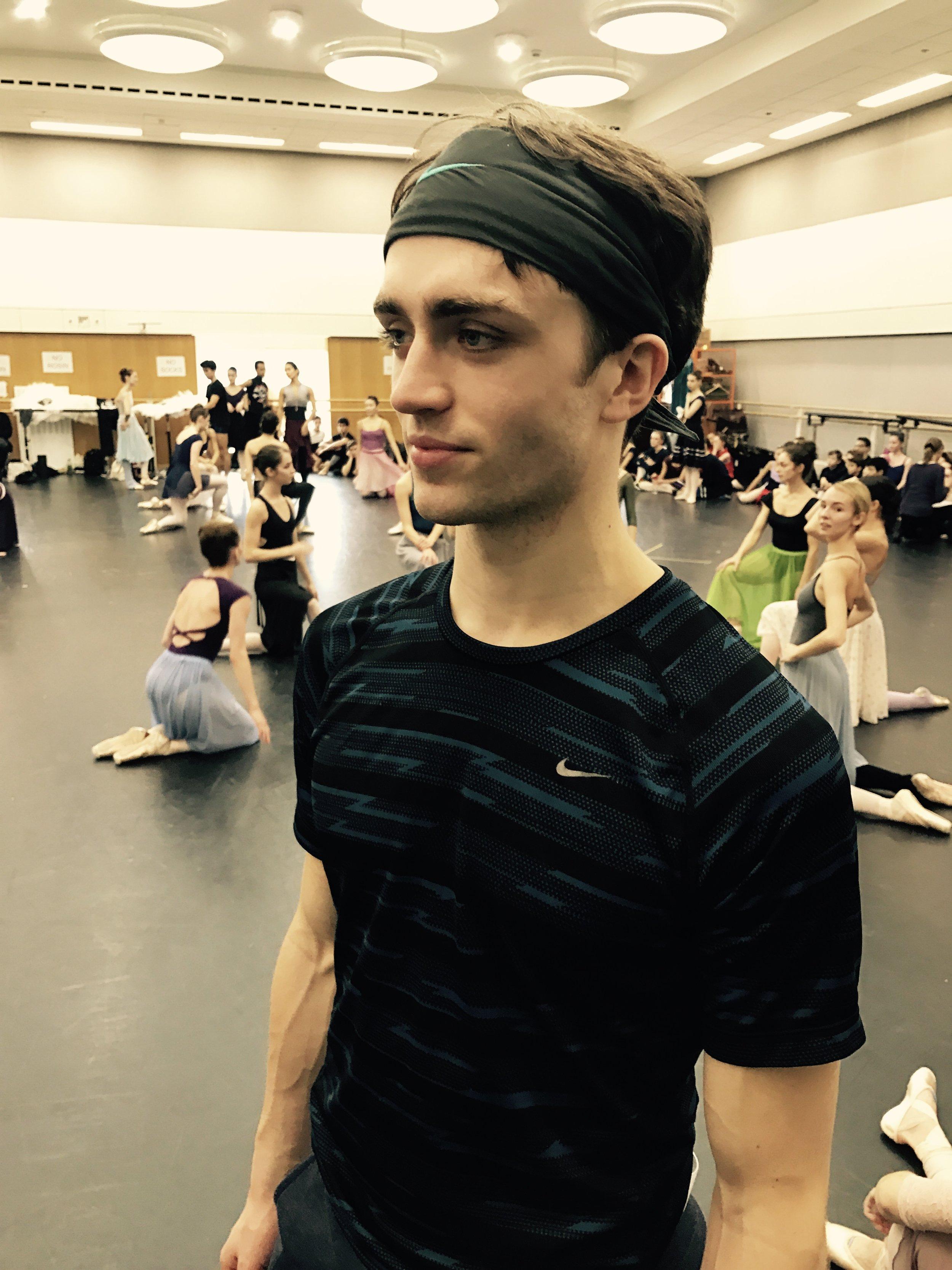 Matt- Using a bandana to keep his hair off his face