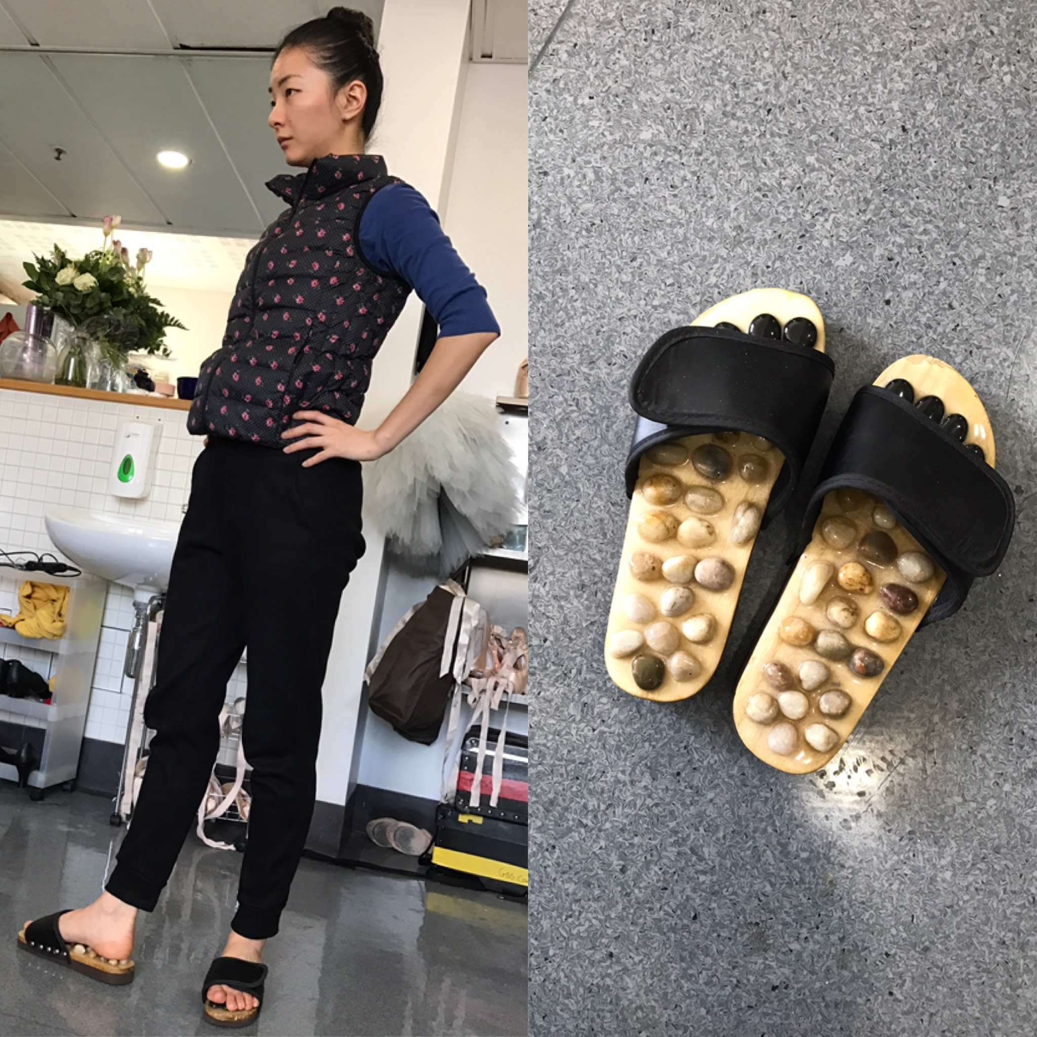 YUHUI IS GOING HARDCORE WITH HER SLIPPERS. WALKING WHILE RECEIVING REFLEXOLOGY !    www.amazon.co.uk