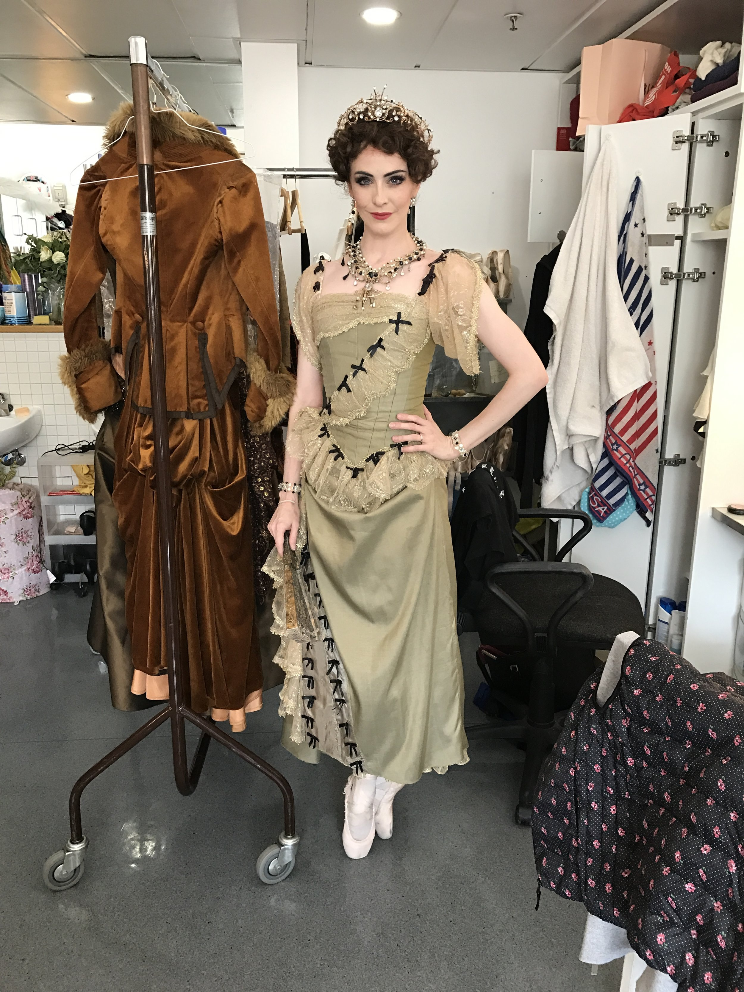 ACT ONE, A LIGHTER DRESS FOR THIS ACT. HAVE TO TAKE OFF LONG ELBOW GLOVES FOR THE PAS DE DEUX, AS THEY CAN AFFECT GRIPS WHILE PARTNERING. MY NECKLACE IS ALSO SEWN ONTO MY DRESS TO KEEP IT OUT OF MY PARTNERS FACE.
