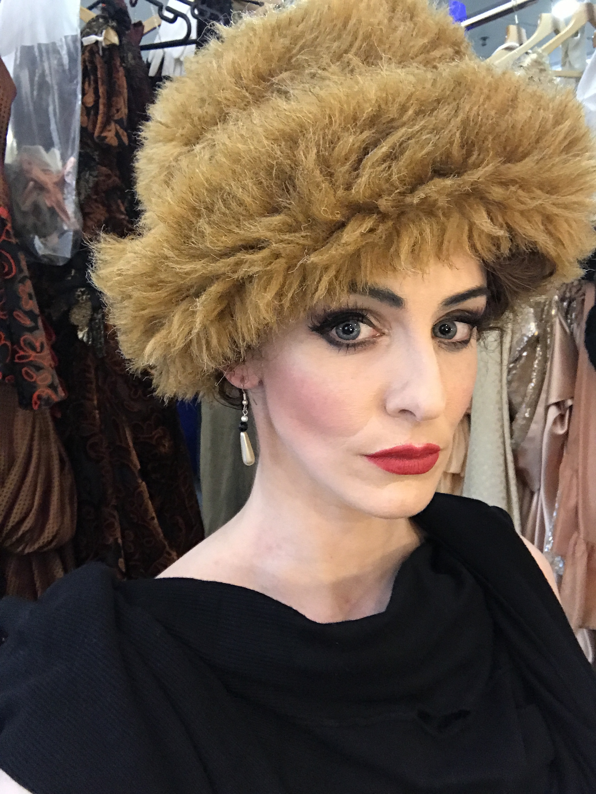 I HAVE TO DO A VERY QUICK CHANGE FROM SNOW SCENE TO BEDROOM SCENE. IN ABOUT 30 SECONDS I HAVE TO CHANGE MY HAT TO A HEADRESS, SWAP JEWELLERY AND OBVIOUSLY CHANGE OUTFIT.