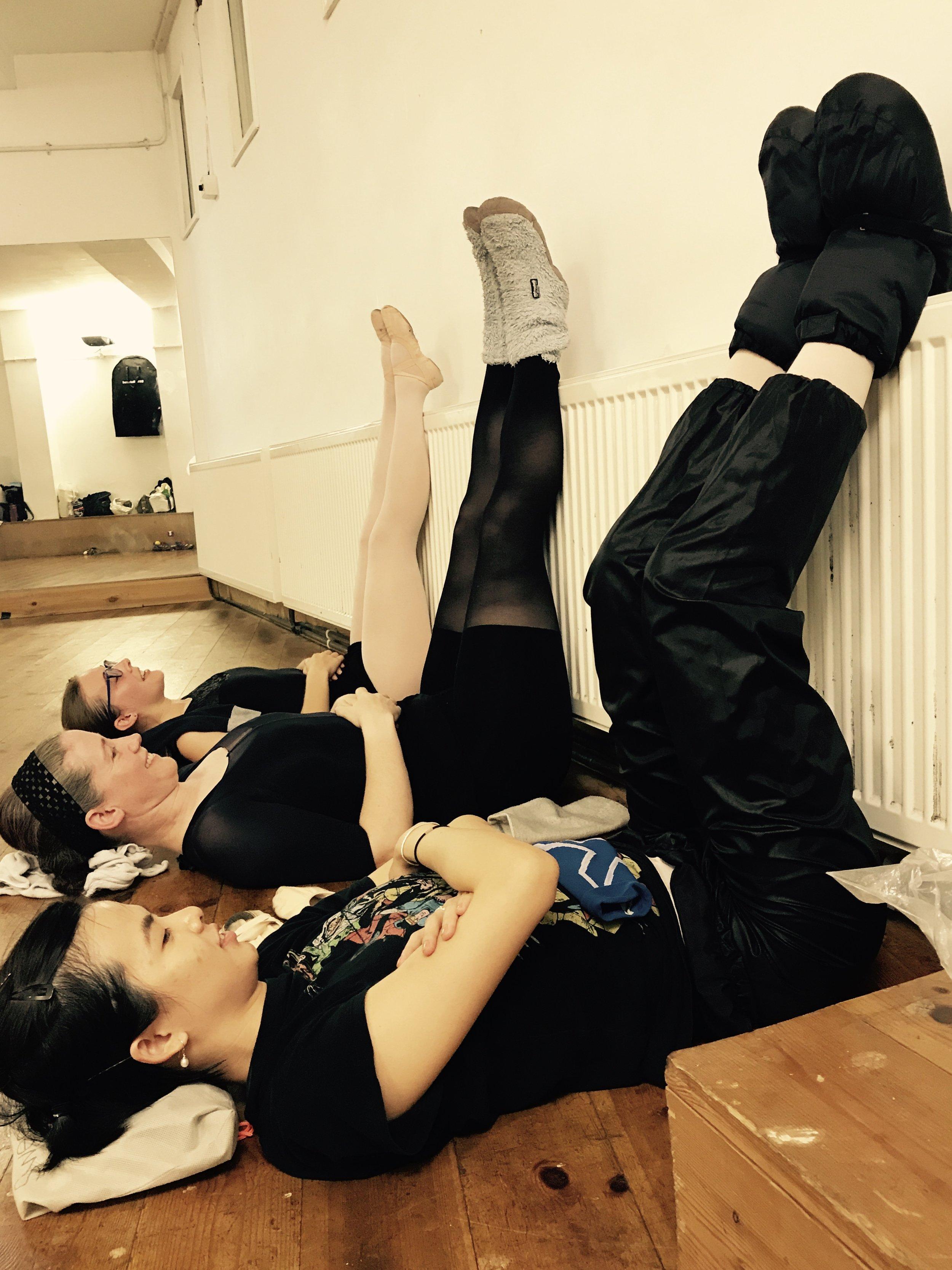 Anita, Naomi and Vanessa draining their legs with an array of ballet footwear !  Vanessa's Boots -  http://uk.blochworld.com