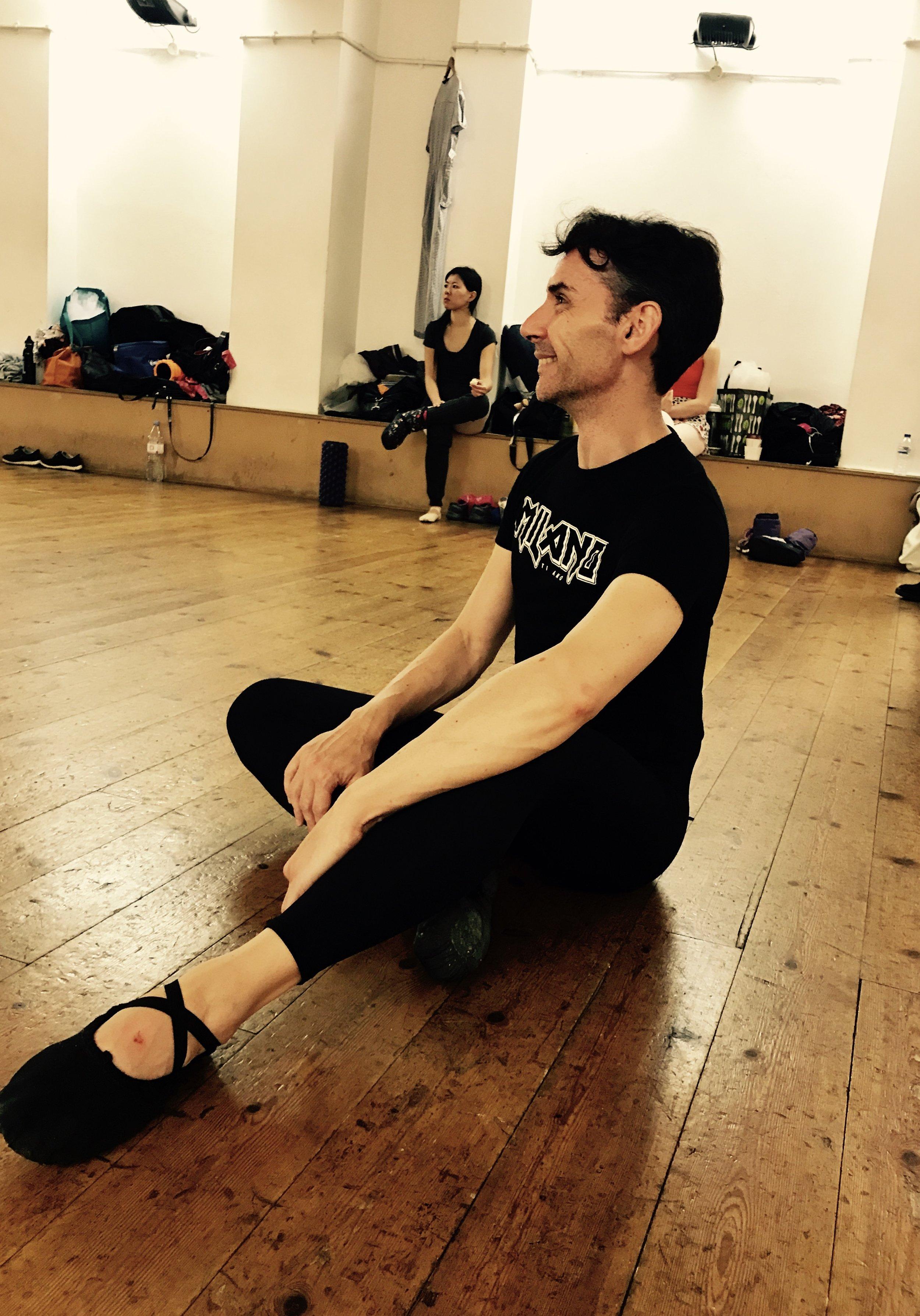 Tony in an all black ensemble.  Ballet shoes -  http://uk.blochworld.com