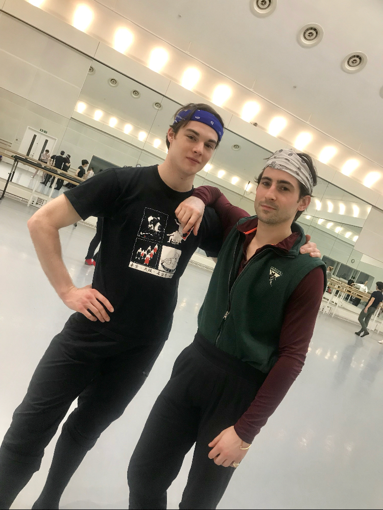 David and Tristan wearing thick patterned bandanas as a necessity to set off those faces