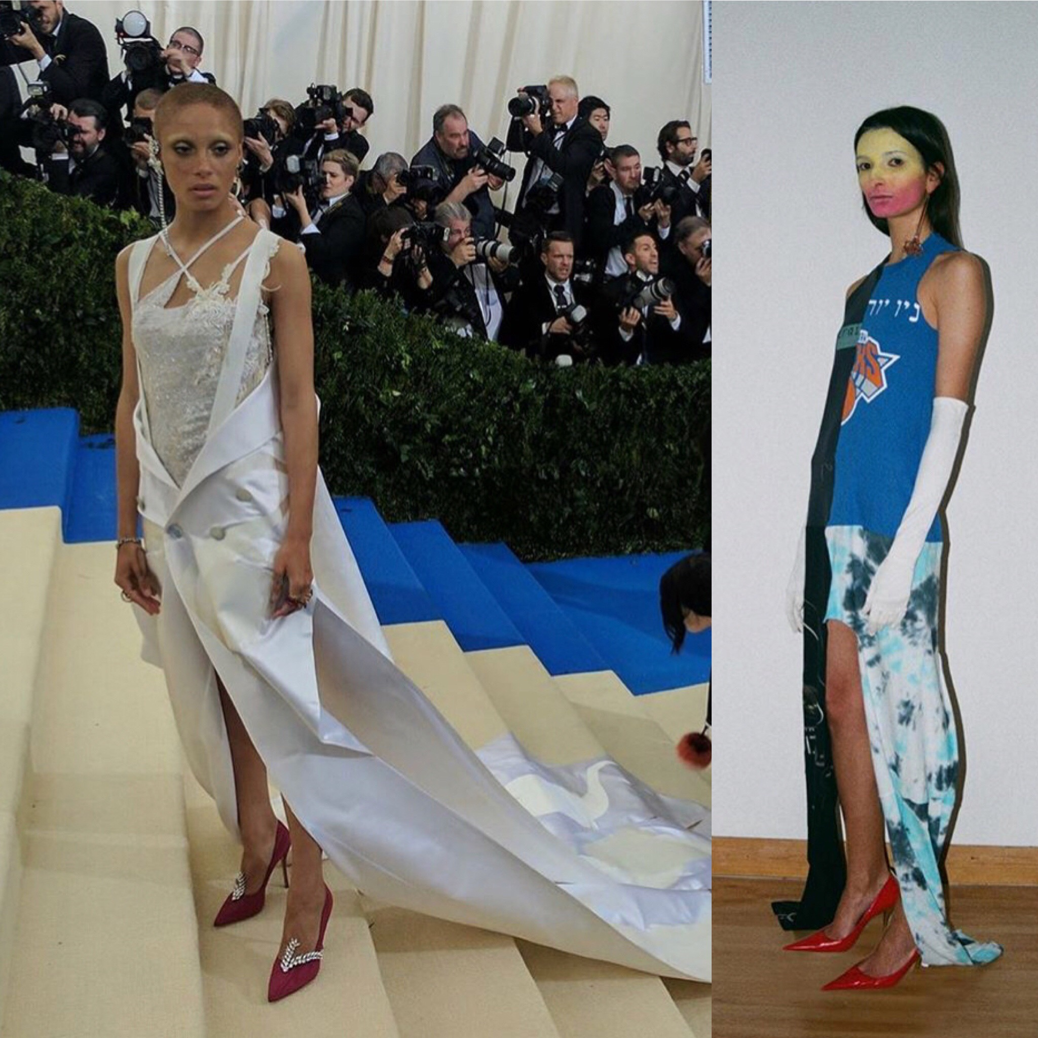 Adwoa Aboah wearing Conner's designs at the MET Gala.  A piece from his exclusive collection at     Browns.