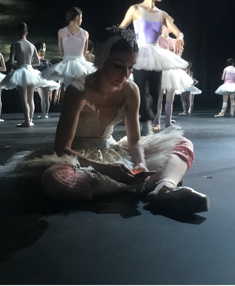 Natalia Osipova resting before Act 4 stage rehearsal
