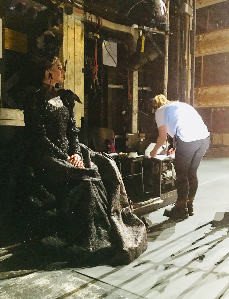 Elizabeth in Act 1 Queen costume. Getting into character before our first call on stage.