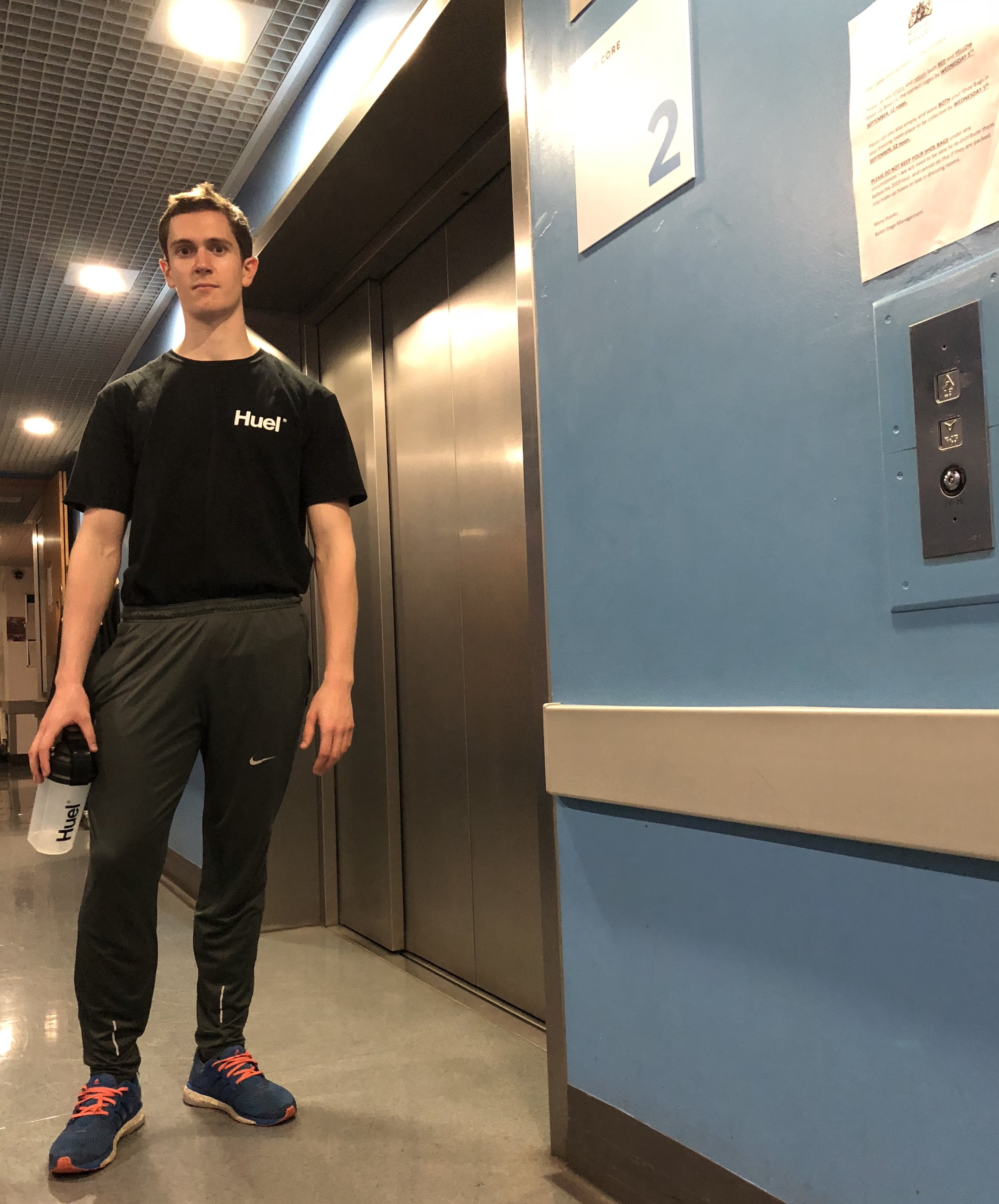 Caught Billy at the elevator with the full  Huel kit on !