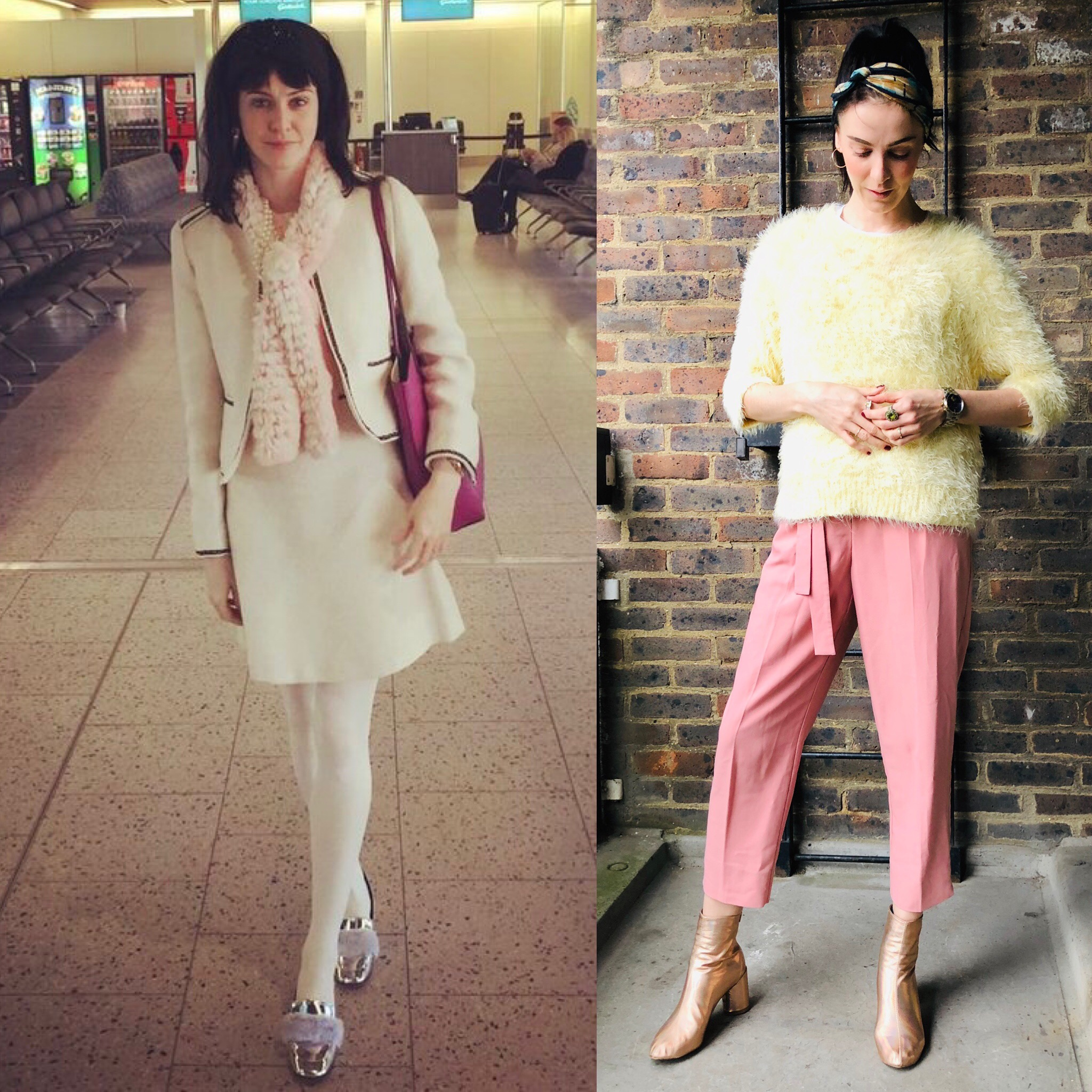 Left - Creams with powder blue and pink highlights     SUIT  -   shop.mango.com/     Right - Yellows and pinks ! I love pink right now .. super bunhead !     JUMPER - www.marksandspencer.com