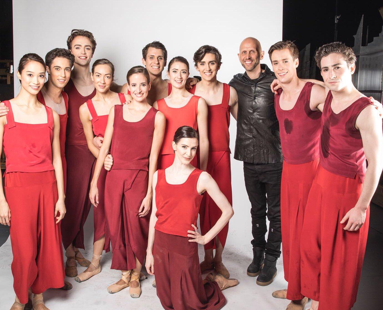 The cast of Yugen with choreographer Wayne McGregor